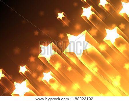 Shiny bright stars flying on dark background