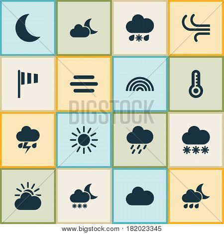 Weather Icons Set. Collection Of Temperature, Douche, Sun-Cloud And Other Elements. Also Includes Symbols Such As Rainy, Weather, Crescent.