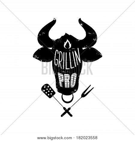 Vintage poster Grllin pro. Stylish design for t-shirt apron poster