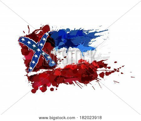 Flag of Mississippi USA made of colorful splashes