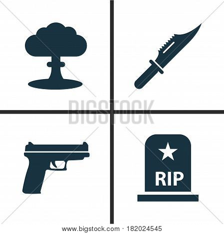 Combat Icons Set. Collection Of Weapons, Atom, Cutter And Other Elements. Also Includes Symbols Such As Rip, Scalper, Nuclear.