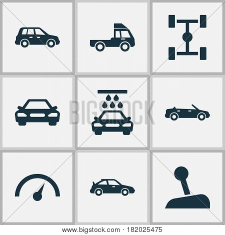 Car Icons Set. Collection Of Stick, Car, Convertible Model And Other Elements. Also Includes Symbols Such As Wash, Cabriolet, Speed.