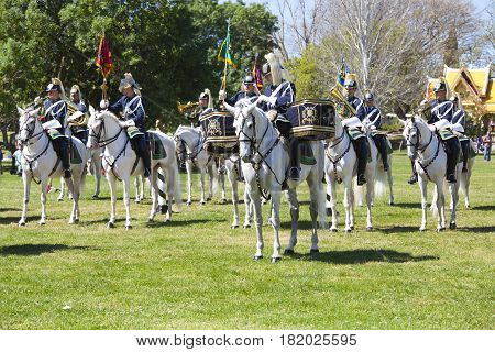 LISBON - APRIL 16: The Changing Guard Ceremony takes place in Palace of Belem on APRIL 16 2017 in Lisbon Portugal.