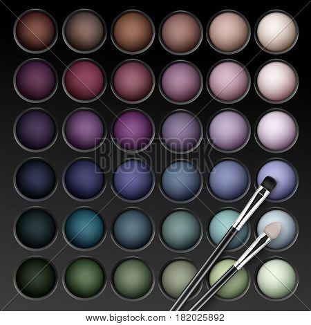Vector Round MultiColored Pastel Light Brown Cream Ocher Olive Yellow Green Bright Blue Turquoise Pink Violet Vinous Eye Shadows Palette with Makeup Brush Applicator
