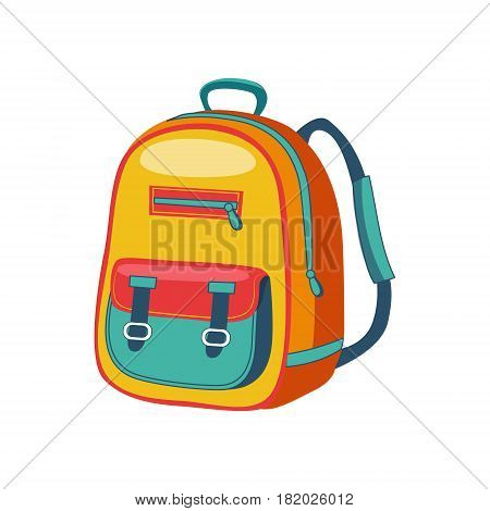 Yellow And Blue Schoolkid Backpack, Set Of School And Education Related Objects In Colorful Cartoon Style. Scholar Inventory Illustration Flat Vector Cute Drawing.