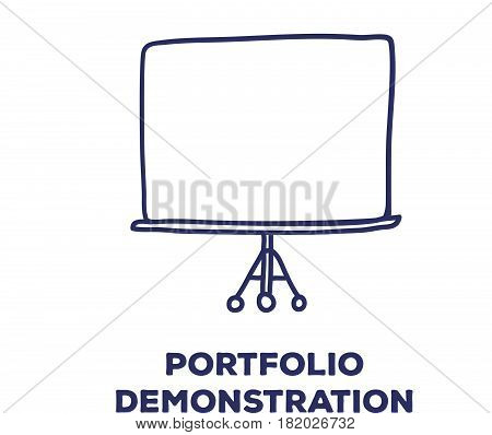 Vector creative illustration of big tripod screen with line icons and text on white background. Portfolio demonstration concept. Thin hand drawn line art doodle style design for web, site, banner, business presentation