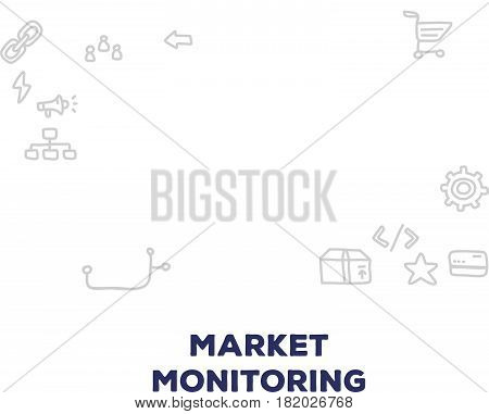 Vector creative illustration of big monitor with graph and chart, line icons on white background. Market monitoring concept. Thin hand drawn line art doodle style design for web, site, banner, business presentation