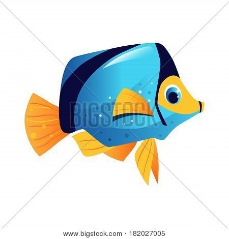 Blue surgeon fish, sea, tropical, aquarium fish. Colorful cartoon character isolated on a white background