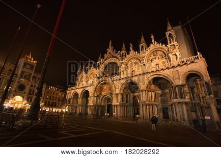 Cathedral of San Marco, Venice, Italy, illuminated at night