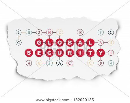 Privacy concept: Painted red text Global Security on Torn Paper background with Scheme Of Hexadecimal Code