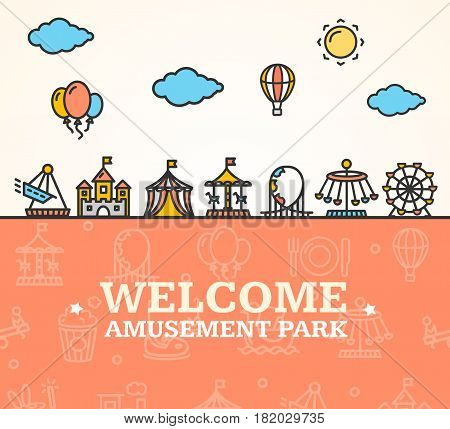 Amusement Park Welcome Card Invitation witch Thin Line Icons Attractions and Carousels for Holiday Leisure. Vector illustration