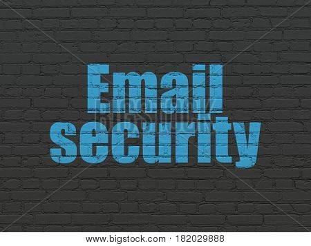 Privacy concept: Painted blue text Email Security on Black Brick wall background