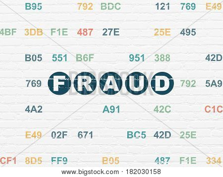 Privacy concept: Painted blue text Fraud on White Brick wall background with Hexadecimal Code