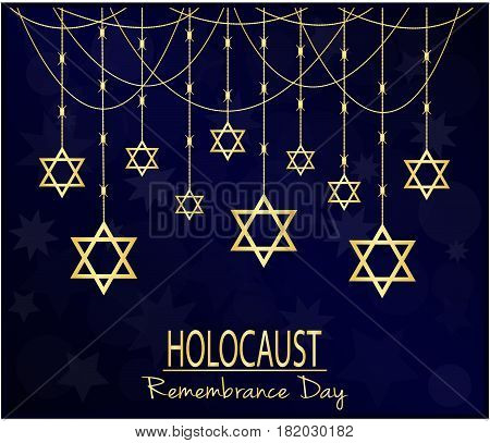 Holocaust remembrance day card or background. vector illustration.