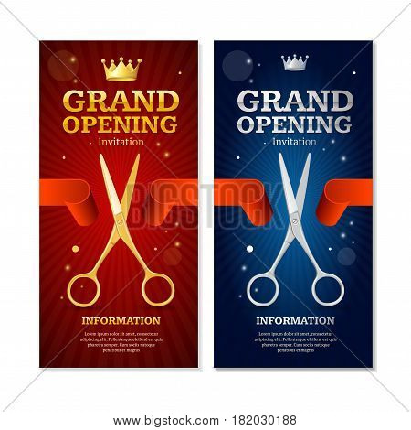 Grand Opening Banners Invitation Vertical Set witch Golden and Silver Scissor Cut Red Tape. Vector illustration