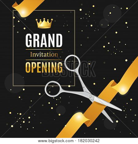 Grand Opening Invitation Card on a Black Background witch Silver Scissor Cut Gold Tape. Luxury Concept. Vector illustration
