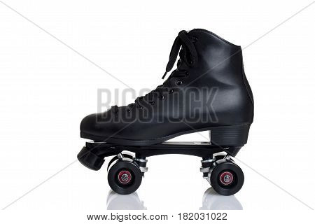 side view men's quad roller skate on white