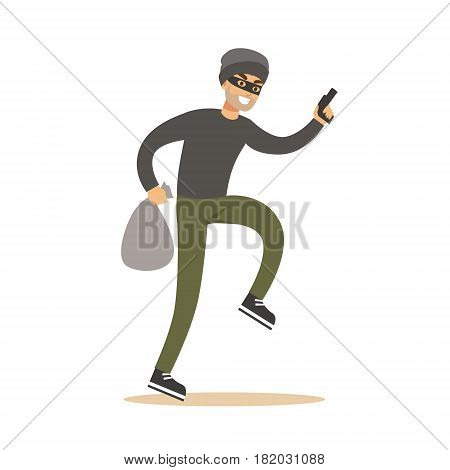 Robber in mask with sack and gun. Colorful cartoon character vector Illustration isolated on a white background
