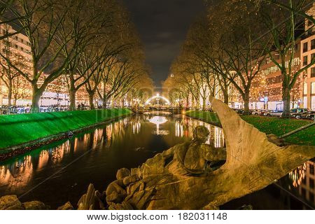 View of night Dusseldorf in Germany. NRW.