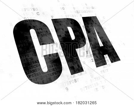 Business concept: Pixelated black text CPA on Digital background
