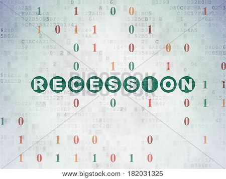 Business concept: Painted green text Recession on Digital Data Paper background with Binary Code