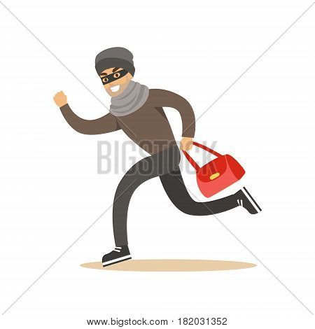 Thief running with a stolen red bag. Colorful cartoon character vector Illustration isolated on a white background