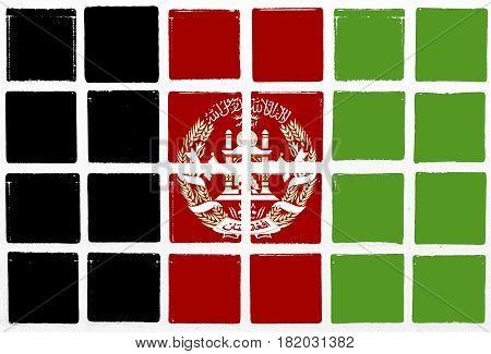 Glazed tiles afghanistan flag square  mosaic  detail line