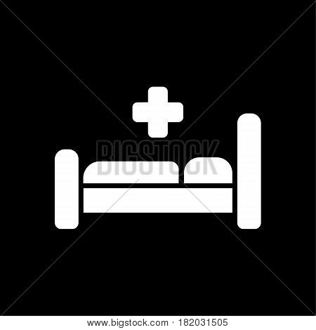 Hospital bed icon. Medecine symbol. Flat Vector illustration. Eps 10