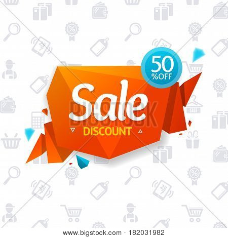Sale Label Abstract Origami Bubble Speech and Background Seasonal Discounts for Retail Business. Vector illustration