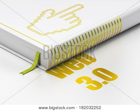 Web design concept: closed book with Gold Mouse Cursor icon and text Web 3.0 on floor, white background, 3D rendering