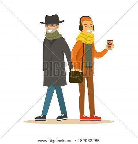 Pickpocket trying to steal wallet from man in headphones. Colorful cartoon character vector Illustration isolated on a white background