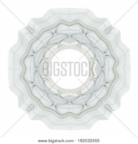 guilloche decorative element for design certificate, diploma and bank note on a white background