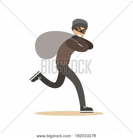 Robber in mask running with huge sack. Colorful cartoon character vector Illustration isolated on a white background