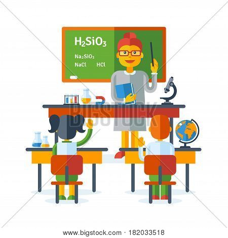 Pupils raising hands during chemistry class at the elementary school. Back To School education concept with schoolers. Vector Illustration. Happy kids at desks, teacher with green chalkboard
