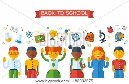 Back To School Education Concept with Schoolers. Vector Illustration. Happy kids and school flat icons. Boys and girls of different nationalities, international students.