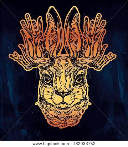 Jacalope magical creature portrait art, horned rabbit in American folklore. For tattoo or t-shirt. Fantasy card or poster idea. Ethnic design, mystic tribal boho symbol. Isolated vector illustration