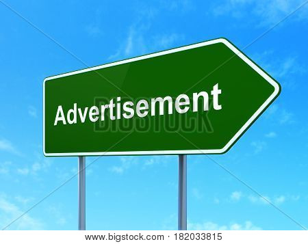 Advertising concept: Advertisement on green road highway sign, clear blue sky background, 3D rendering