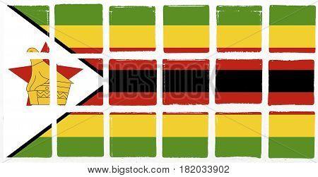 Glazed tiles zimbabwe flag square  mosaic  detail line