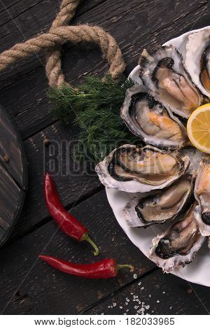 Oysters with lemon close-up. Fresh oysters. Oysters and red pepper