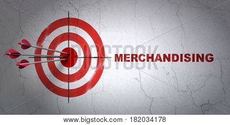 Success marketing concept: arrows hitting the center of target, Red Merchandising on wall background, 3D rendering