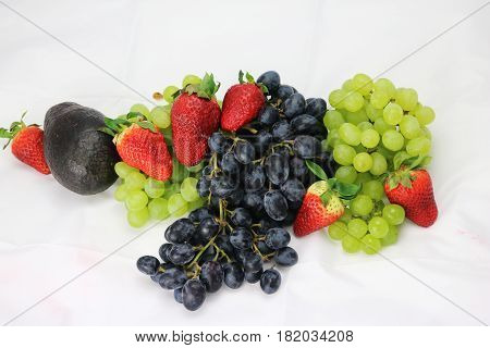 Fruit vegetables isloated white grape strawberry nature
