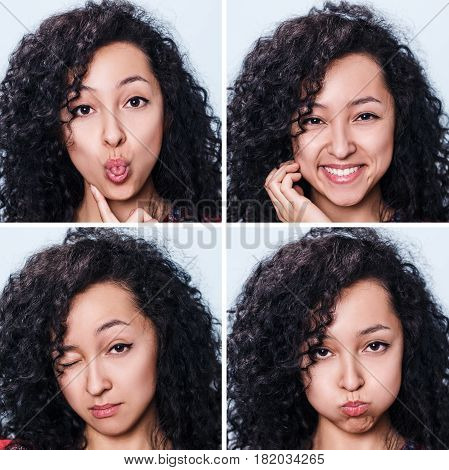 Collage of young attractive woman with different emotions.