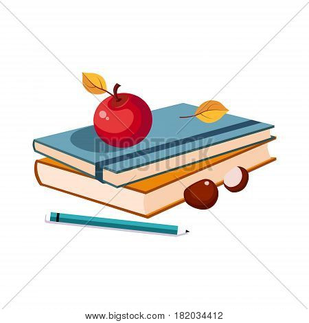 Notebooks, Apple And Pencil, Set Of School And Education Related Objects In Colorful Cartoon Style. Scholar Inventory Illustration Flat Vector Cute Drawing.