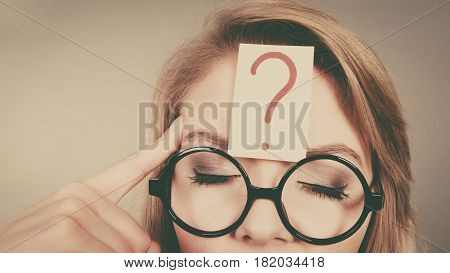 Woman Having Question Mark On Head Thinking