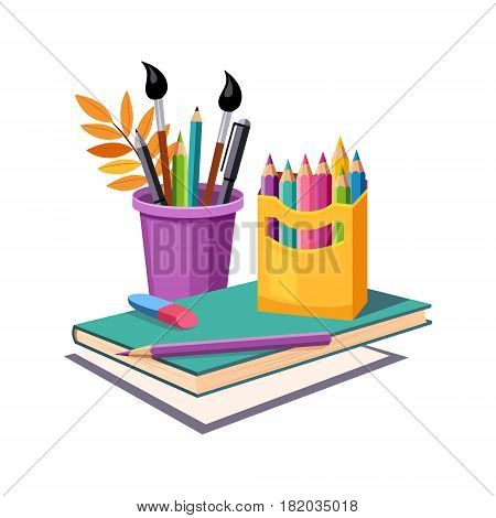 Notebook, Pencils And Eraser, Set Of School And Education Related Objects In Colorful Cartoon Style. Scholar Inventory Illustration Flat Vector Cute Drawing.
