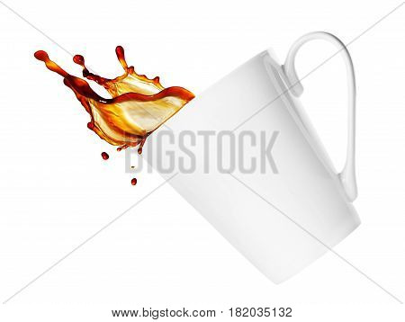 simple white cup of coffee or tea with splash isolated on white background. Brown splash from a cup