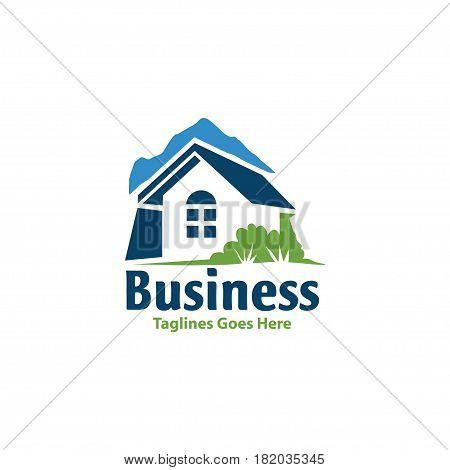 Village House Logo Real Estate logo vector. Cottage Farm Logotype concept icon
