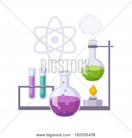 Chemistry Kit With Test Tubes And Chemicals, Set Of School And Education Related Objects In Colorful Cartoon Style. Scholar Inventory Illustration Flat Vector Cute Drawing.