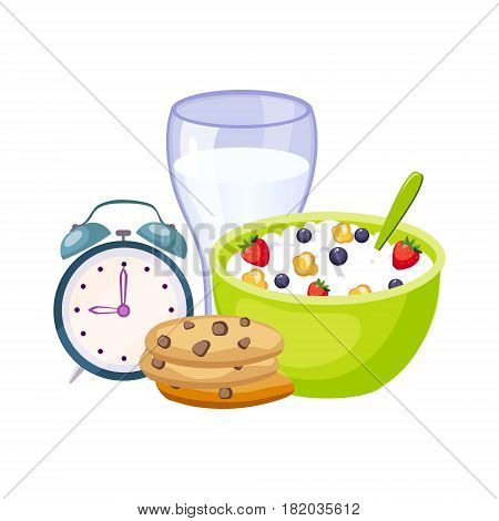 Breakfast Meal With Milk, Cereals And Clock, Set Of School And Education Related Objects In Colorful Cartoon Style. Scholar Inventory Illustration Flat Vector Cute Drawing.