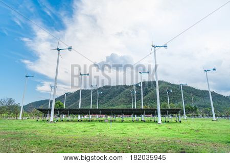 Chang Hua Mun Royal Initiative Project Windmills and Solar cell panels alternative and sustainability of enery from natural with farm land at Phetchaburi provinceThailand